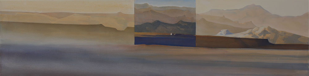 "Seven Troughs Triptych acrylic on canvas 18x72"" Gerlach NV 2011"
